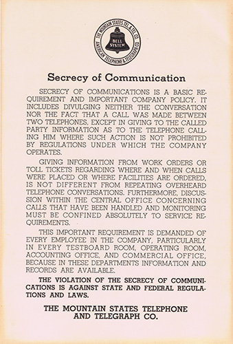 Bell System Secrecy of Communications poster