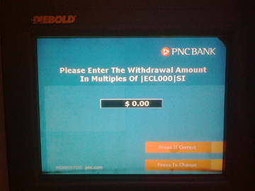 Please Enter the Withdrawal Amount In Multiples of |ECL000|SI